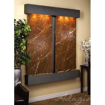 Cottonwood Falls Natural Stone/Metal Wall Fountain Finish: Blackened Copper, Stone: Rainforest Brown Marble