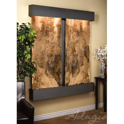 Cottonwood Falls Natural Stone/Metal Wall Fountain Finish: Blackened Copper, Stone: Magnifico Travertine