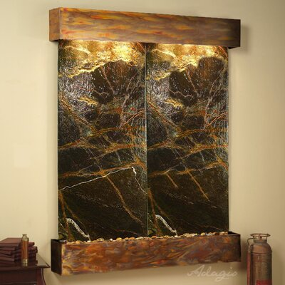 Majestic River Natural Stone/Metal Wall Fountain Finish: Rustic Copper, Stone: Rainforest Green Marble
