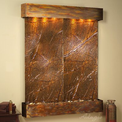 Majestic River Natural Stone/Metal Wall Fountain Finish: Rustic Copper, Stone: Rainforest Brown Marble