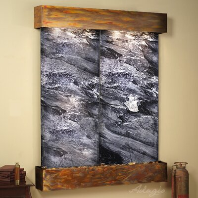 Majestic River Natural Stone/Metal Wall Fountain Finish: Rustic Copper, Stone: Black Spider Marble