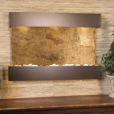 Reflection Creek Natural Stone/Metal Wall Fountain with Light Stone: Green Slate, Finish: Antique Bronze, Pebble Color: Slate