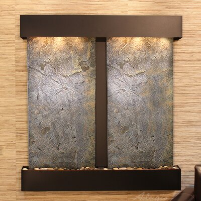 Aspen Falls Natural Stone/Metal Wall Fountain Stone: Green Feather, Finish: Blackened Copper