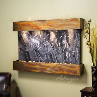 Sunrise Springs Natural Stone/Metal Wall Fountain Finish: Rustic Copper, Stone: Black Spider Marble