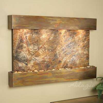 Sunrise Springs Natural Stone/Metal Wall Fountain Finish: Rustic Copper, Stone: Rainforest Brown Marble