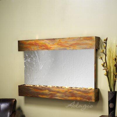 Sunrise Springs Natural Stone/Metal Wall Fountain Finish: Rustic Copper, Stone: Silver Mirror