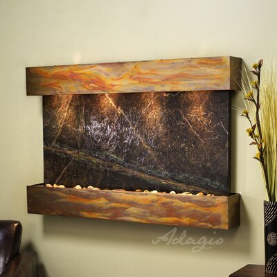 Sunrise Springs Natural Stone/Metal Wall Fountain Finish: Rustic Copper, Stone: Rainforest Green Marble