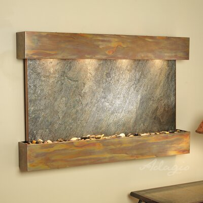 Sunrise Springs Natural Stone/Metal Wall Fountain Finish: Rustic Copper, Stone: Green Feather
