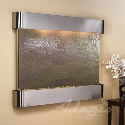 Teton Falls Natural Stone/Metal Wall Fountain Finish: Stainless Steel, Stone: Multi-Color Feather