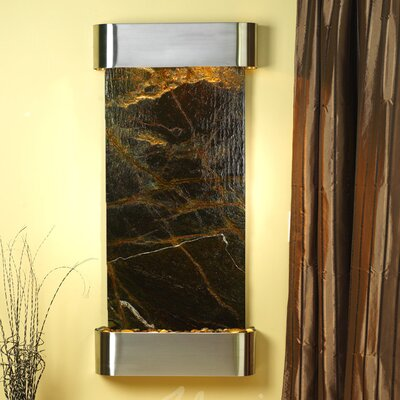 Cascade Springs Natural Stone/Metal Wall Fountain Stone: Rainforest Green Marble, Finish: Stainless Steel