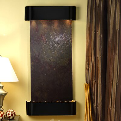 Cascade Springs Natural Stone/Metal Wall Fountain Finish: Blackened Copper, Stone: Multi-Color Feather