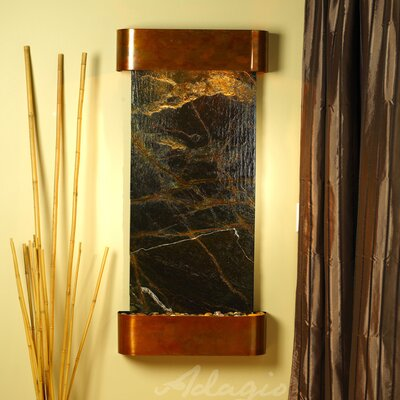 Cascade Springs Natural Stone/Metal Wall Fountain Stone: Rainforest Green Marble, Finish: Rustic Copper