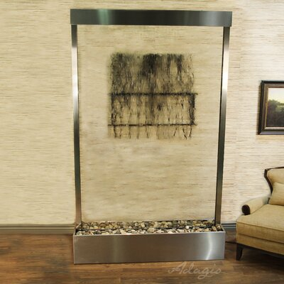 Grandeur River Natural Stone/Metal Wall Fountain Stone: Clear Glass, Finish: Stainless Steel