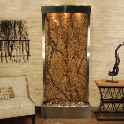 Tranquil River Natural Stone/Metal Wall Fountain Finish: Stainless Steel, Stone: Rainforest Brown Marble