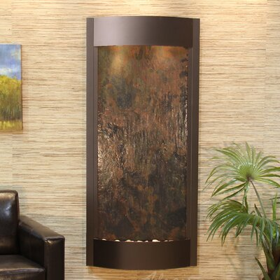 Pacifica Waters Natural Stone/Metal Wall Fountain Finish: Antique Bronze, Stone: Multi-Colored Feather