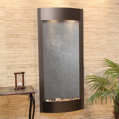 Pacifica Waters Natural Stone/Metal Wall Fountain Finish: Silver Metallic, Stone: Bronze Mirror