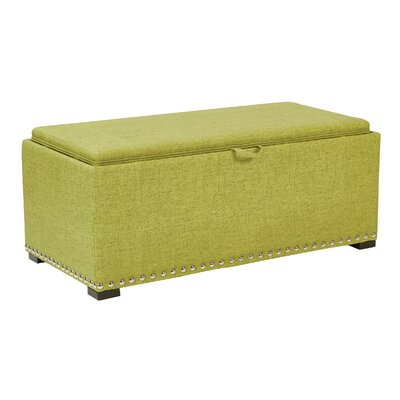 Florence Upholstered Storage Bench Upholstery: Basil, Nailhead Detail: Silver