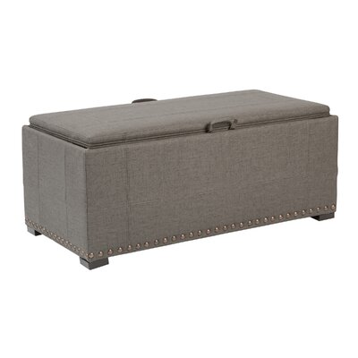 Florence Upholstered Storage Bench Nailhead Detail: Antique Bronze, Upholstery: Earth