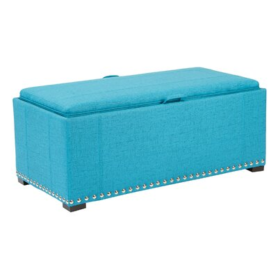Florence Upholstered Storage Bench Upholstery: Teal, Nailhead Detail: Silver