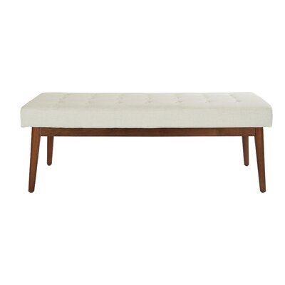 Valera Button Tufted Upholstered Bench Upholstery: Linen