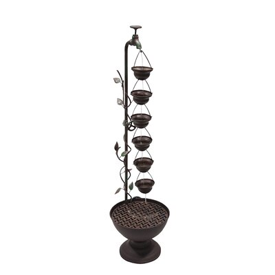 Metal 6 Hanging Cup Tier Layered Floor Fountain