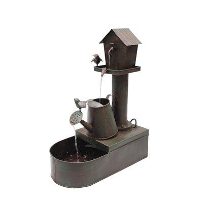 Metal Birdhouse Into Watercan Floor Fountain