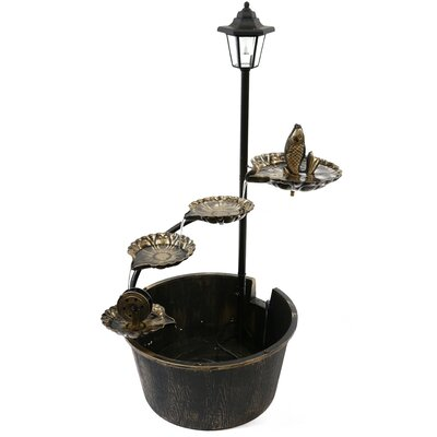 Metal Solar LED Tiered Fountain with Fish