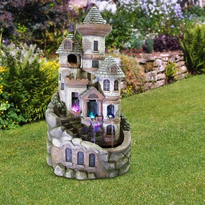 Cement Tower Castle Fountain with LED Light