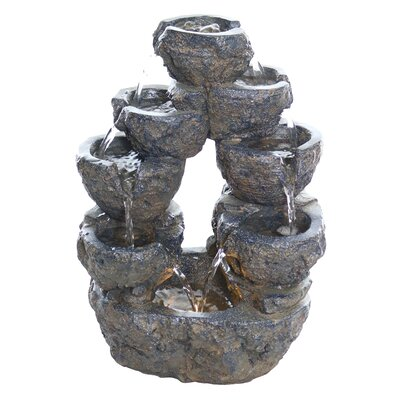 Resin 5-Tiered Cascading Fountain with LED Light