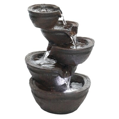 Resin Tiering Bowls Fountain with LED Light