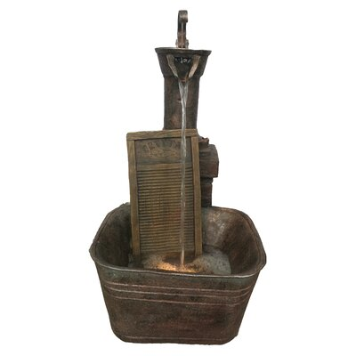 Resin Washboard Fountain with LED Light