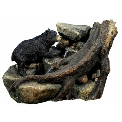 "Polyresin 14"" Bear on Tree Trunk Fountain"