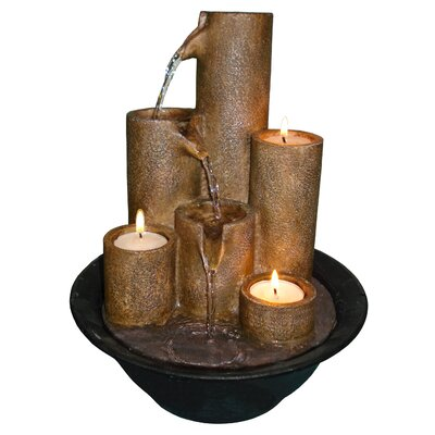 Alpine Eternity Resin Three Candle Tabletop Fountain