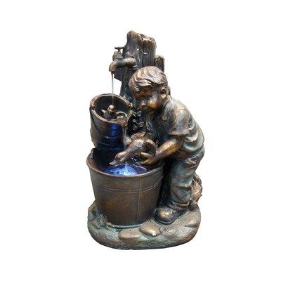 Alpine Fiberglass Resin Boy Washing Duck Fountain with LED Light
