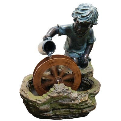 Resin/Polystone Boy with Wheel Sculptural Fountain