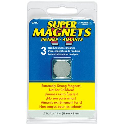 Master Magnetics Neodymium Disc Magnets (Pack of 3)