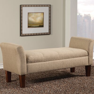 Davis Upholstered Storage Bench Color: Tan