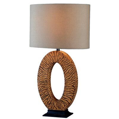 "Wildon Home ® Burl 26"" H Table Lamp with Drum Shade"