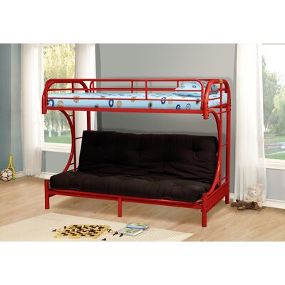 Kalen Twin over Full Futon Bunk Bed Color: Red