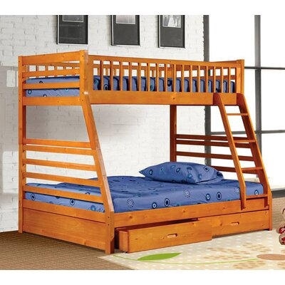 Izaiah Twin over Full Bunk Bed with Storage Color: Oak