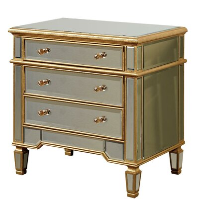 3 Drawer Chest Color: Gold & Clear Mirror