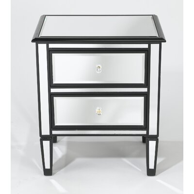 Trim Mirrored 2 Drawer Chest Color: Silver