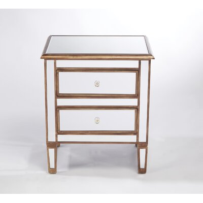Trim Mirrored 2 Drawer Chest Color: Antique Gold