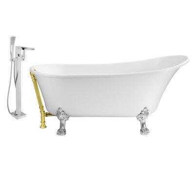 "67"" x 32"" Clawfoot Soaking Bathtub Feet Finish: Chrome, Finish: Gold"