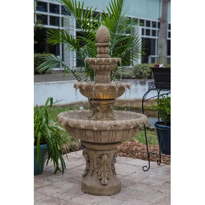Danelle Resin Outdoor Fountain with Light Finish: Sandstone