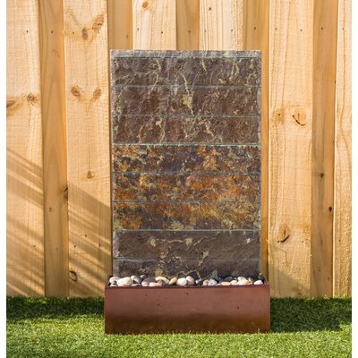 Natural Stone Brook Floor Fountain with Light