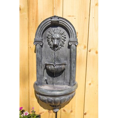 Resin Lyon Wall Fountain with Light Finish: Zinc