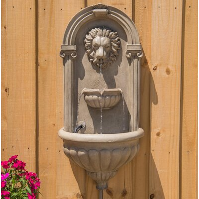 Resin Lyon Wall Fountain with Light Finish: Sandstone