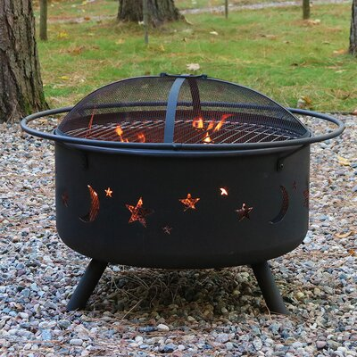 Steel Wood Fire Pit with Cooking Grill