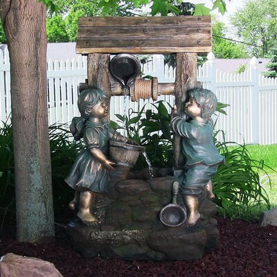 Resin/Fiberglass Children at the Well Outdoor Water Fountain with LED Light